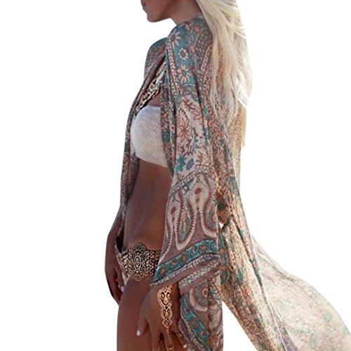 Damen Blumendruck Chiffon Kimono Cardigan Top Lose Schal Bikini Cover Up Strandponcho Vintage Vertuschen Bluse Elegant (XL, Grün)