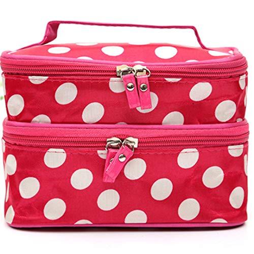 TXSD Polka Dots Double Layer Double Zipper Cosmetic Bag Trousse de toilette Trousse de maquillage Trousse à main Sac