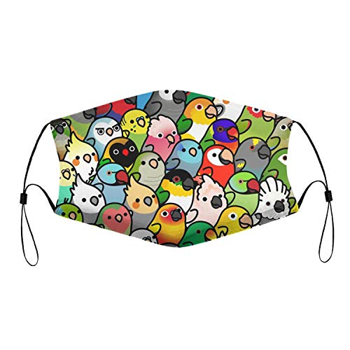 Colorful Parrot Birds Crowd Face Protection Filters Chip Face Masks for Mouth Cover
