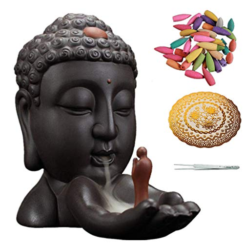 BeneCharm Buddha Incense Holder-Ceramic Backflow Incense Burner Home Decor Aromatherapy Ornament with 50 Backflow Incense Cones 1 Tweezers 1 pad
