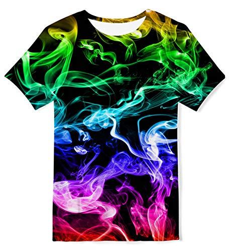 ALISISTER 3D T-Shirt Jugend Neuheit Buntes Rauchen Grafik Jungen Mädchen Tee Shirt Sommer Beiläufig Mode Festival Party Kurzarm Tshirts