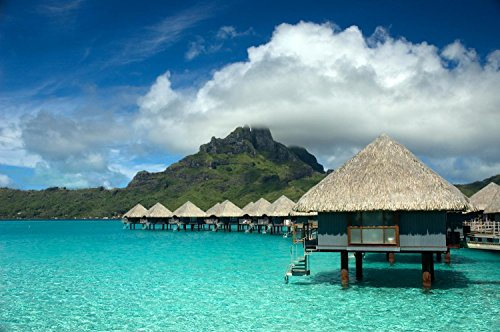 Wallmonkeys FOT-3444987-30 WM228066 Overwater Bungalow Bora Peel and Stick Wall Decals (30 in W x 20 in H), Medium-Large