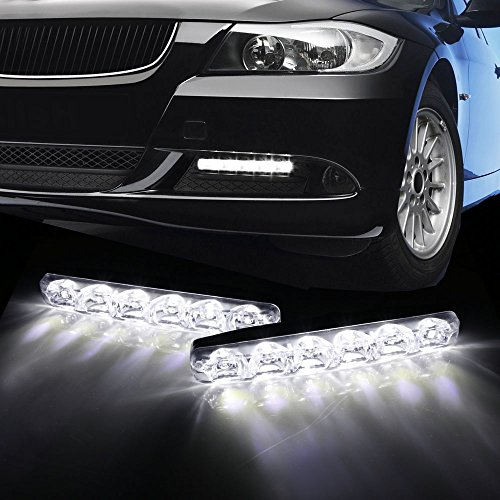 iJDMTOY (2) 6000K Cool White 6-LED Universal Fit LED Daytime Running Lights Compatible With Car SUV Truck