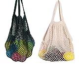 Yuccer Sac Filet Courses Couleur, Filet Provision Coton Sac à Provision des Fruits et Légumes Pliage en Filet Réutilisable Shopping String Bag (A Blanc +Noir)