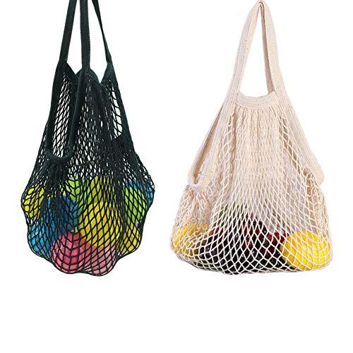 Yuccer Einkaufstasche Netz, Wiederverwendbare Obst Gemüsebeutel Shopping String Bag Einkaufsbeutel Obst Gemüse (A Weiß + Schwarz)