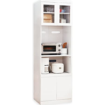 LOWYA ロウヤ キッチン収納 食器棚 レンジ台 ハイタイプ 大型レンジ対応 幅59 ホワイト