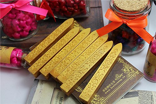 XICHEN 5PCS Vintage Gold Carved Wax Sealing Sticks for Retro Vintage Wax Seal Stamp Magic Arrow Pattern Wax Strips