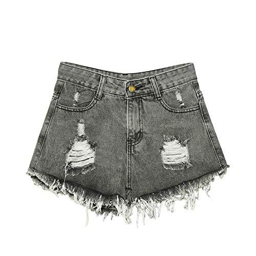 N\P Verano de las mujeres pantalones cortos de mezclilla agujero de cintura alta pierna ancha borla femenino casual de gran tamaño pantalones cortos para las mujeres Hotpants delgado rasgado agujero