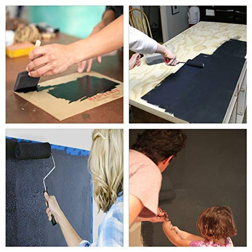 Chalkboard Blackboard Paint - Black 8.5oz - Brush on Wood, Metal, Glass, Wall, Plaster Boards Sign, Frame or Any Surface. Use with Chalk Pen Wet Erase, Safe and Non-Toxic. Matte Finish - Up to 100sf Kansas
