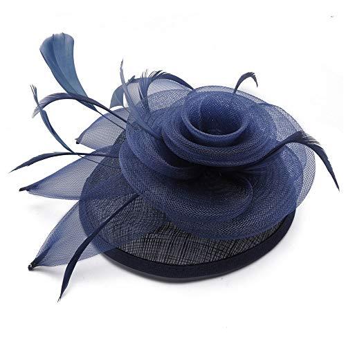 HQQ Nouveau Chapeau de mariée de Style Britannique, matériel en Lin avec Accessoires de Plumes de Fleurs, Chapeau pour Dames (Color : Blue)