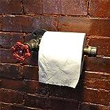 Porte-papier de toilette mural en forme de tuyau en fer de style industriel urbain, rétro