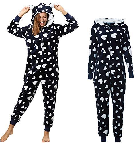 Orshoy Damen Jumpsuit Teddy Fleece Einteiler Overall Anzug Flauschig Schlafanzug Overall Loungwear Navy-Weiß XL - 5