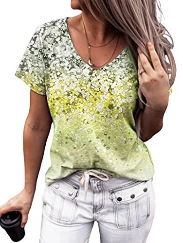 Camiseta Mujer Sexy Lentejuelas Brillantes Decoración con Cuello En V Manga Corta Verano Suelto Cómodo Vacaciones Casual Chic Mujeres Tops Camisas Mujer E-Yellow M