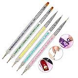 SUI-lim Lot de 5 Pinceaux à Ongles Gel Nail Art avec Dotting Tools Stylo à Ongles 2 en 1 Pinceaux en Acrylique Paillettés pour Vernis à Ongles Gel UV Dessin...