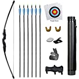 TOPARCHERY Archery Bow and Arrow Set 30 40 lbs Takedown Recurve Bow for Youth Adults with Quiver Target Faces Longbow Kit for Outdoor Training Practice Right Hand (30)