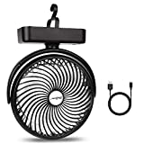 7-Inch Camping Fan with LED Lantern, 5000mAh Rechargeable Battery/USB Operated Fan with Hanging Hook for Tent Car RV