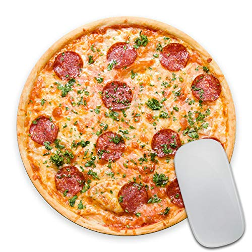 Smooffly Pizza Round Mouse Pad, Pepperoni Pizza Mouse Pad, Teenager Mouse Pad, Pizza Coaster, Food Mouse Pad, Food Coaster