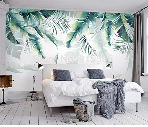 SKTYEE Foto murale personalizzata Carta da parati Retro Foresta pluviale tropicale Palma Foglie di banano Pittura murale Camera da letto Soggiorno Divano 3D murale, 300x210 cm (118.1 by 82.7 in)