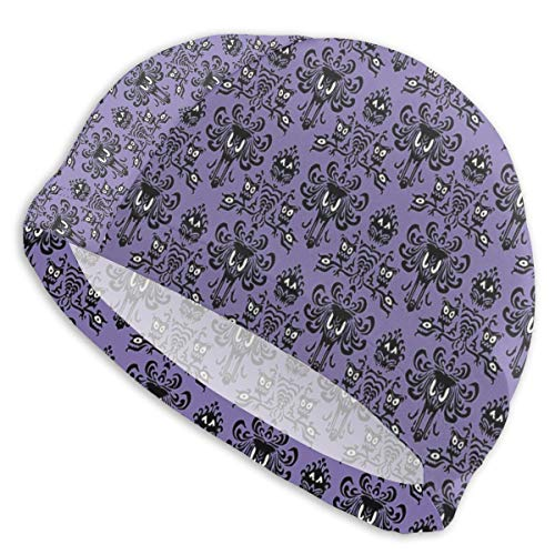 popluck Swim Cap UV Protection Swimming Caps Pool Waterproof Outdoor Swim Hat for Adults-Haunted Mansion Wallpaper