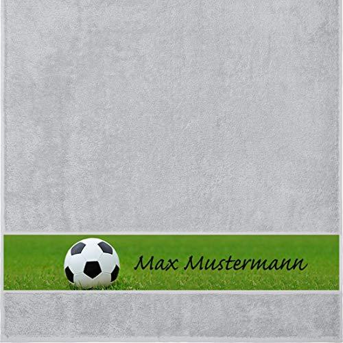 Manutextur Duschtuch mit Namen - personalisiert - Motiv Sport - Fußball - viele Farben & Motive - Dusch-Handtuch - hellgrau - Größe 70x140 cm - persönliches Geschenk mit Wunsch-Motiv und Wunsch-Name