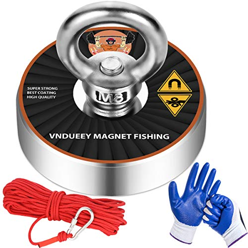 Magnet Fishing Kit with 500Lbs(278Kg) Pulling Force Fishing MagnetsNeodymium Strong Magnets with 20m (65 Foot) Durable Rope and Protective Gloves