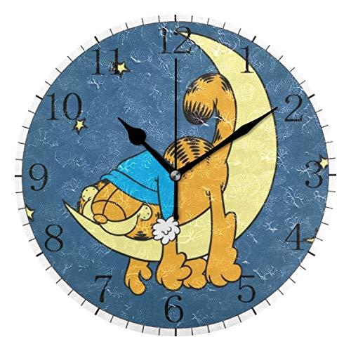 yongxing Moon Starlight Garfield - Reloj de pared de estilo redondo, silencioso, sin cuchillo, con pilas (10 pulgadas)