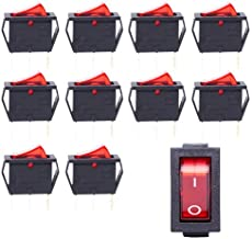 Gadgeter 10 Pcs 3 Pin I/O 250V AC 15A 2 Position ON/Off KCD3 Boat Rocker Switch with Red Indicator Light