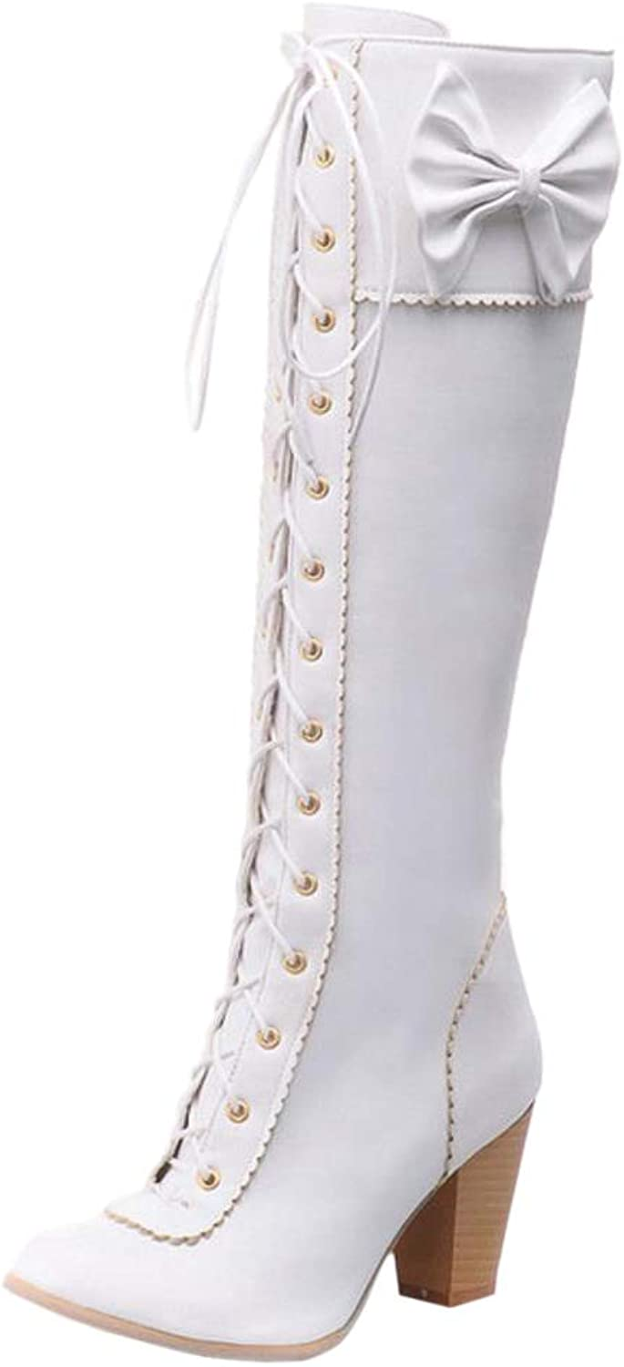 RizaBina Women Lace Up Knee High Boots
