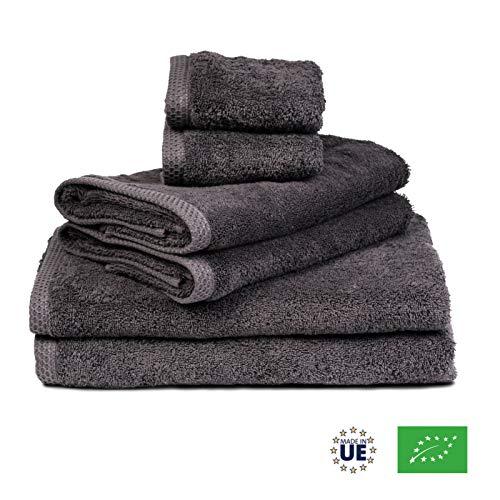 ⭐ Handtuch Set - Grau - Badetuch Set aus 100% BIO-Baumwolle 500gr - (6-Teilig) 2 Badetüchern 70x140 - 2 Handtücher 50x80 - Gästetuch 30x50 - Saugfähig, Weich und Umweltfreundlich - Hergestellt in UE
