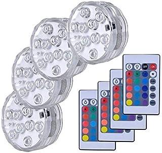 Masrin Wasserdichtes Swimmingpool-Licht RGB 10 LED Birnen-versenkbares Unterwasser-LED-Licht mit Fernbedienung 16 Farben 4 heller Modus Mehrfarbig