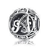 Abalorios de plata de ley 925 100 % auténtica, vintage de la A a la Z, con letras del alfabeto y circonitas, para pulseras, brazaletes y collares Plateado