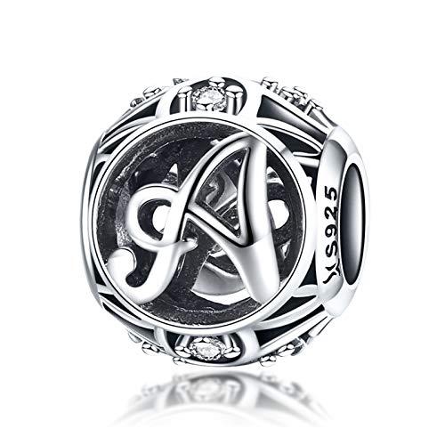 LaMenars Ciondolo con Lettera Dell'alfabeto in Argento Sterling 925, Vintage Charm Bead con iniziale A alla Z, con Zirconia Cubica, Compatibile con Pandora e Europei Bracciale Collane (Lettera A)