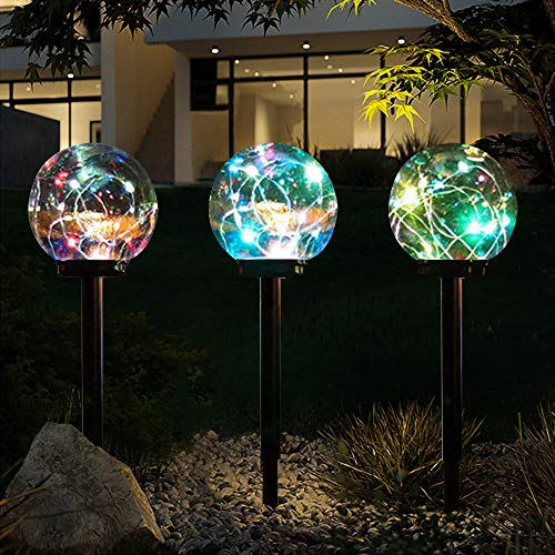 Arily Solar Globe Light Outdoor Solar Path Lights Outdoor Color Changing Solar Landscape Lights Outdoor Solar Garden Lights for Yard Patio Walkway Lawn Decoration (3 Pack)
