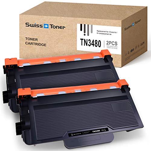 SWISS TONER 2 Paquete TN3480 NT-3480 Cartucho de tóner Compatible para Brother HL-L5100DN HL-L5000D HL-L6400DW HL-L5200DWT DCP-L5500DN MFC-L6800DW Impresora