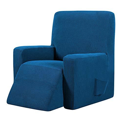 Silla de silla de reclinación cubiertas de silla con sofá de estiramiento lavable con bolsillo antideslizante con muebles protector sillón de color sólido Tapa de sofá estiramiento ( Color : E )