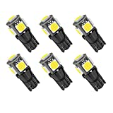 Kitchasy 194 168 Car Bulb, T10 Wedge Upgrade 5 SMD 5050 Chipset White Light for Car Bulbs Parking & Side Marker Combos, 6pcs