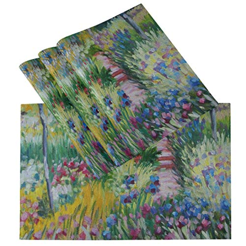 Monet Flowers Sunflowers Spring Placemats for Dining Table Set of 6 Heat Resistant Table Mat Washable Non Slip Large Fabric Coffee Kitchen Square Plate Mat Personalized Decorative