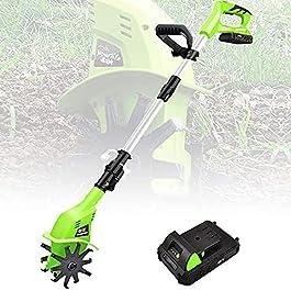 Motobineuse sans fil,Rotavateur de jardin avec batterie rechargeable et chargeur 4000mAh,Motoculteur électrique à main…