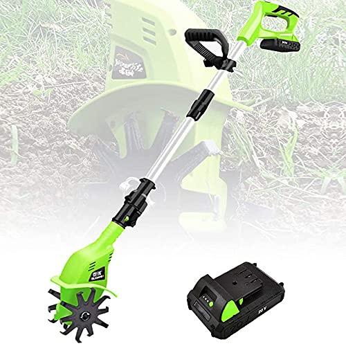 Motobineuse sans fil,Rotavateur de jardin avec batterie rechargeable et chargeur 4000mAh,Motoculteur électrique à main Hoe Sol Miller Tools Cultivateur portable pour le jardin,parcelles de légumes