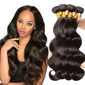 NARFIRE Body Wave Human Hair Bundles Brazilian Hair Weave Bundles Natural Black Color Wavy Hair Extensions Wigs(1 Pack)