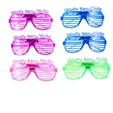 Amosfun 6 pezzi led illuminano 2020 occhiali occhiali da sole capodanno divertente occhiali da vista festa di capodanno favorisce regali a colori casuali