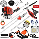 JHDOSD 5 in 1 52cc Petrol Hedge Trimmer Chainsaw Brush Cutter Pole Saw Outdoor Tools Garden Tool Gas String Trimmer Included Brush Cutter, Pruner, Strimmer, Hedge Trimmer and Extension Pole (B)