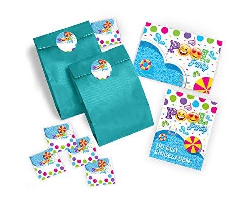 8 Einladungskarten Geburtstag Kinder Schwimmbad für Mädchen Jungen Jungs incl. 8 Umschläge, 8 Tüten und 8 Aufkleber Einladungen Kindergeburtstag Geburtstagseinladungen Set Partyset Kartenset Party