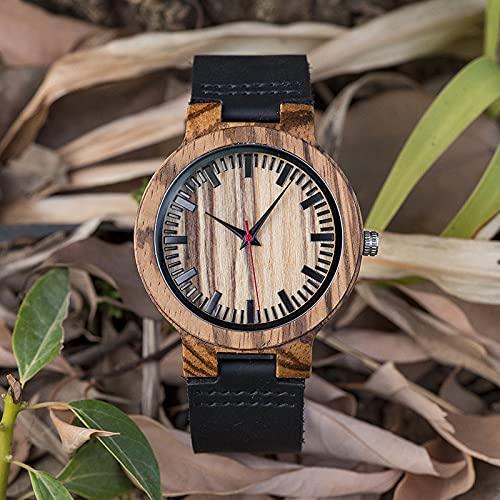 UIOXAIE Reloj de Madera Ver Wood Craft Regalo de cumpleaños Personalizados en Caja Reloj de Pulsera Cuero