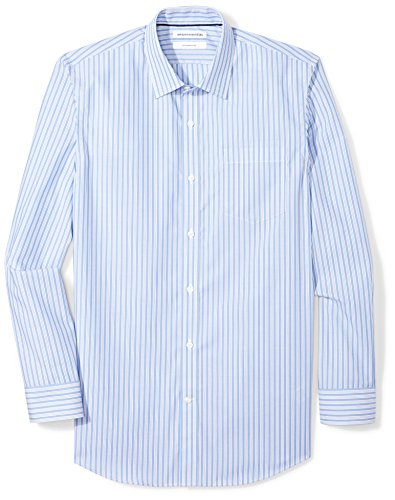 "Amazon Essentials Slim-Fit Wrinkle-Resistant Long-Sleeve Stripe Dress Shirt Camicia, Blu (Blue/White, 18.5"" Neck 34""-35"" (Taglia Produttore:)"