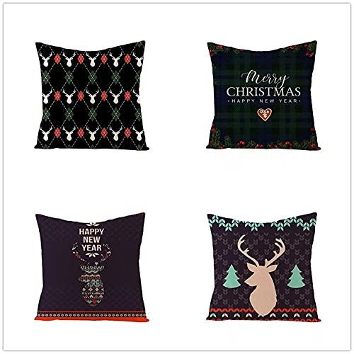 Fundas de Cojín Set de 4 Ciervo de Navidad Negro Patrón Decorativo Algodón Lino Felpa Corta Throw Pillow Case Funda de Almohada Funda de Cojín Sofá Cama Coche Decor Hogar 50x50cm(20x20in)