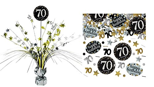 Feste Feiern Tischdekoration 70. Geburtstag I 2 Teile Tischaufsatz Tischaufsteller Kaskade Konfetti Gold Schwarz Silber metallic Party Deko Set Happy Birthday 70