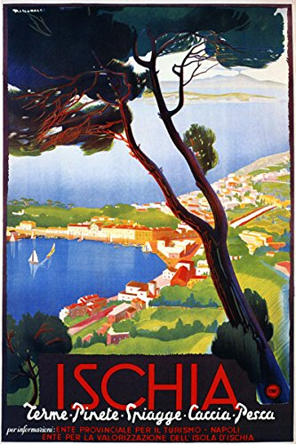 """16"""" X 20"""" Ischia Napoli Naples Italy Italia Italian Travel Tourism Vintage Poster Repro Standard Image Size for Framing. We Have Other"""