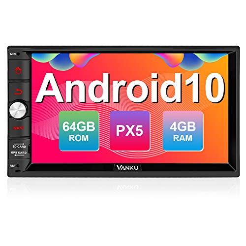 Vanku Android 10 Autoradio mit Navi 64GB + 4GB Unterstützt Qualcomm Bluetooth 5.0 aptX DAB + Android Auto WiFi 4G USB MicroSD 2 Din 7 Zoll Bildschirm