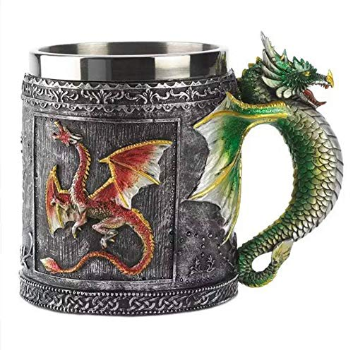 Xuxuou 1 Pieza Jarra de Cerveza Halloween Vaso de Cerveza con Dragón Material de Acero Inoxidable y Resina